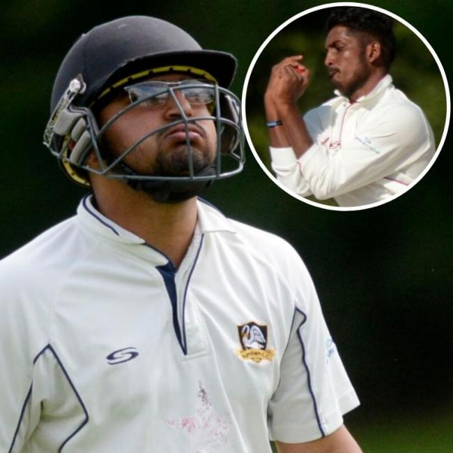 Karan Kumar made an unbeaten 57 runs from 55 balls for Burnham in the seven-wicket win against Harefield in Division Two of the Home Counties Premier League: Inset, Sahan Nanayakkara took figures of 5-45 from 15 overs as Cookham Dean beat Dinton by eight