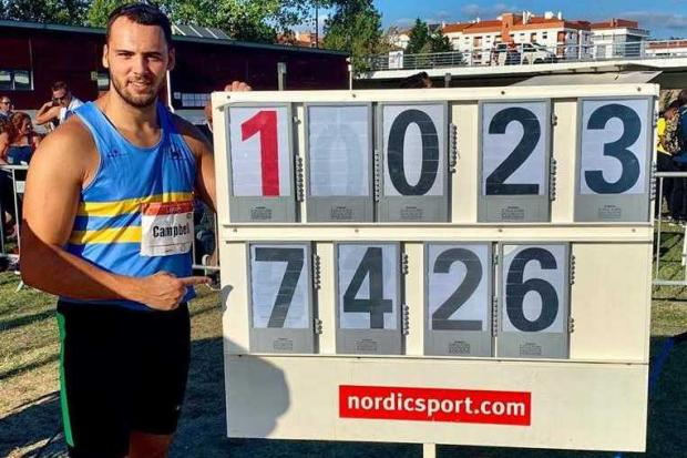 Taylor Campbell broke his own WSEH Club Record in the hammer with a throw of 74.26m in Leira, Portugal.