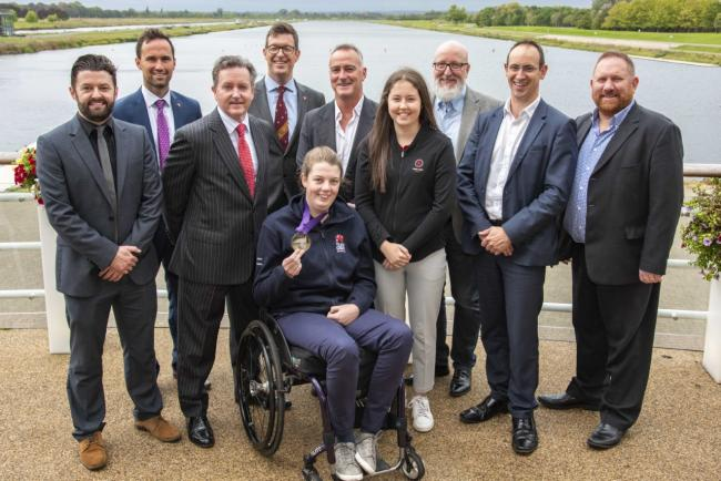 Mari Akhurst (front row) and Daisy Kennedy (fourth from the right) with Graham Thorpe MBE (centre) and SportsAid trustees during the Bucks Sporting Lunch Club at Dorney Lake.