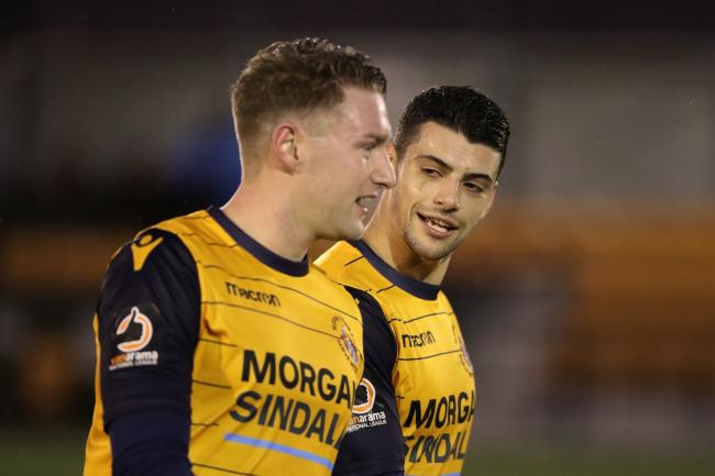 Slough Town star Ryan Bird, left, scored his third goal of the season in the 1-1 draw at Chelmsford City in the National League South on Saturday.