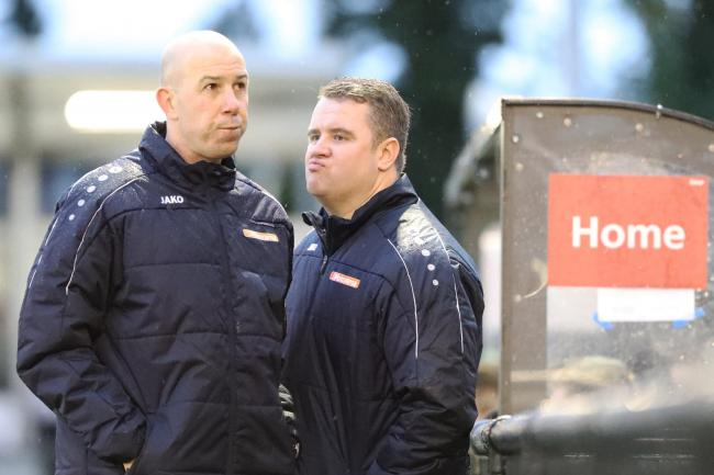 Best friends Jon Underwood, left, and Neil Baker, right, will mark their 500th competitive match as joint-managers when Slough Town take on Chippenham Town this Saturday. PHOTO: Gary House.