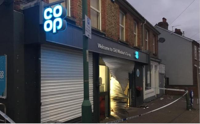 The damaged Co-op frontage