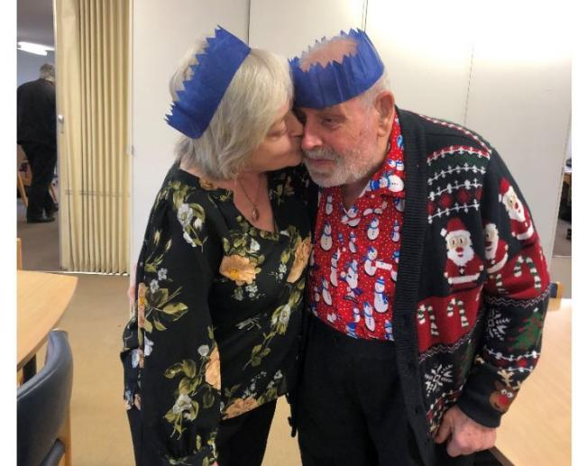 Lorraine Hillis from Age Concern - in happier times, when it was okay to kiss someone at Christmas