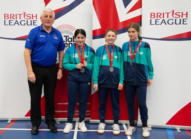 (l-r) The Cippenham Table Tennis Club Junior British League team of Hannah Silcock, Rachael Iles, Anna Piercey finished as runners-up to St Neots.