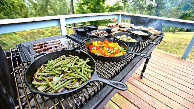 Slough Observer: A good cast iron (or four) can help you cook up vegetable and more on the BBQ. Credit: Amazon / Lodge