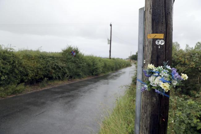 Tributes left in Ufton Lane near Sulhamstead, Berkshire, where Pc Andrew Harper died in August 2019