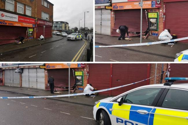 Police and forensics spotted outside Slough corner shop