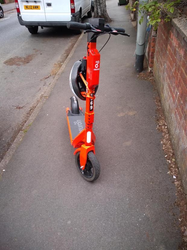 Slough Observer: Random e-scooter left on sidewalk