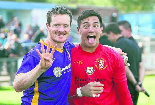 Slough Town FC's Ed Smith puts the boot into Rugby Town
