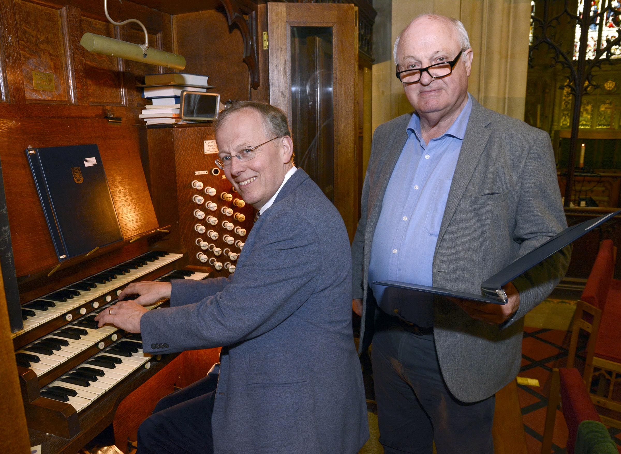 The church organ - with director of music John Halsey and conductor Ben Gunner