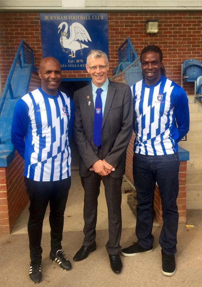 (left-right) Burnham director of football Luther Blissett, chairman Gary Reeves, and Gifton Noel-Williams, who has stood down as the club's manager after less than three months in charge.