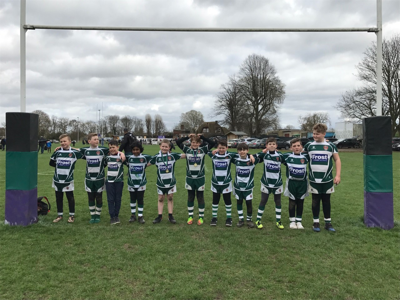 The Slough Under-11 team at the Weybridge Spring Minis Rugby Festival.