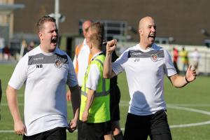 Slough Town joint-managers Neil Baker, left, and Jon Underwood, right, can now look forward to the Southern Premier Division play-offs. PHOTO: Gary House.