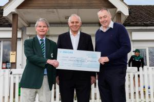 (l-r) Berkshire Cricket Chairman Neil Doody, Summerleaze Chairman Peter Prior and Angus Fraser MBE, the managing director of cricket at Middlesex.