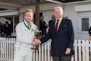 (l-r) Berkshire captain James Morris receives the Marlborough Cup from Stan Radnage.