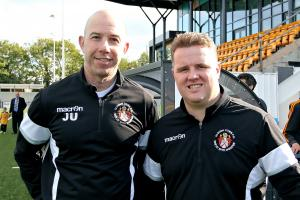 Slough Town joint-managers Jon Underwood, left, and Neil Baker, right, can now prepare for the play-offs after a 1-1 draw with Redditch United on Saturday. PHOTO: Gary House.