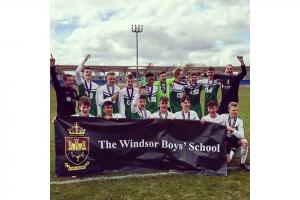 The Windsor Boys School celebrate their win in the National Schools Cup final on Monday