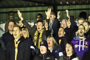 Slough Town supporters cheer on their side, but The Rebels