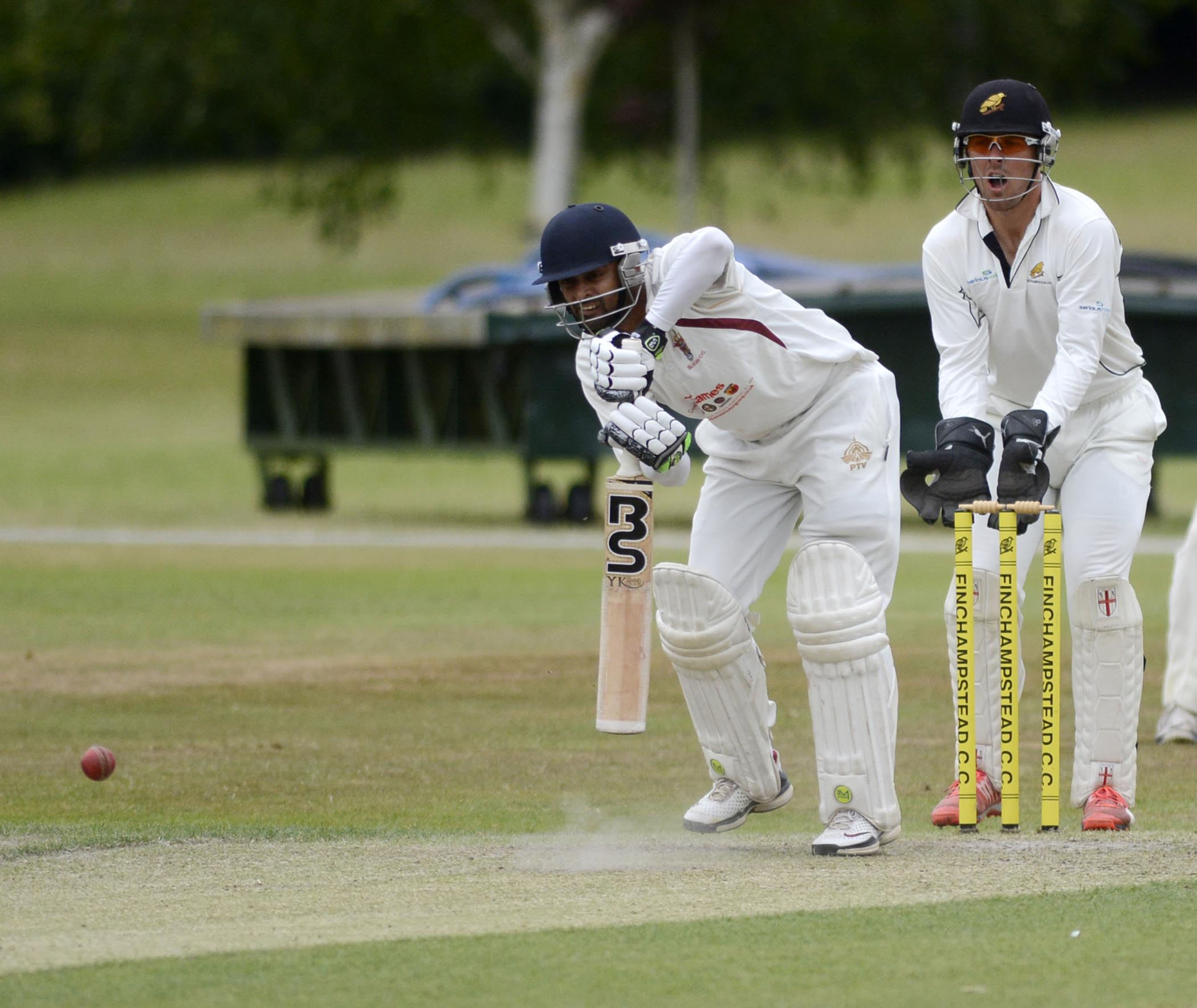 Overseas star Zohaib Ahmed (batting) made 99 as Slough had a rain affected draw at Finchampstead on Saturday.