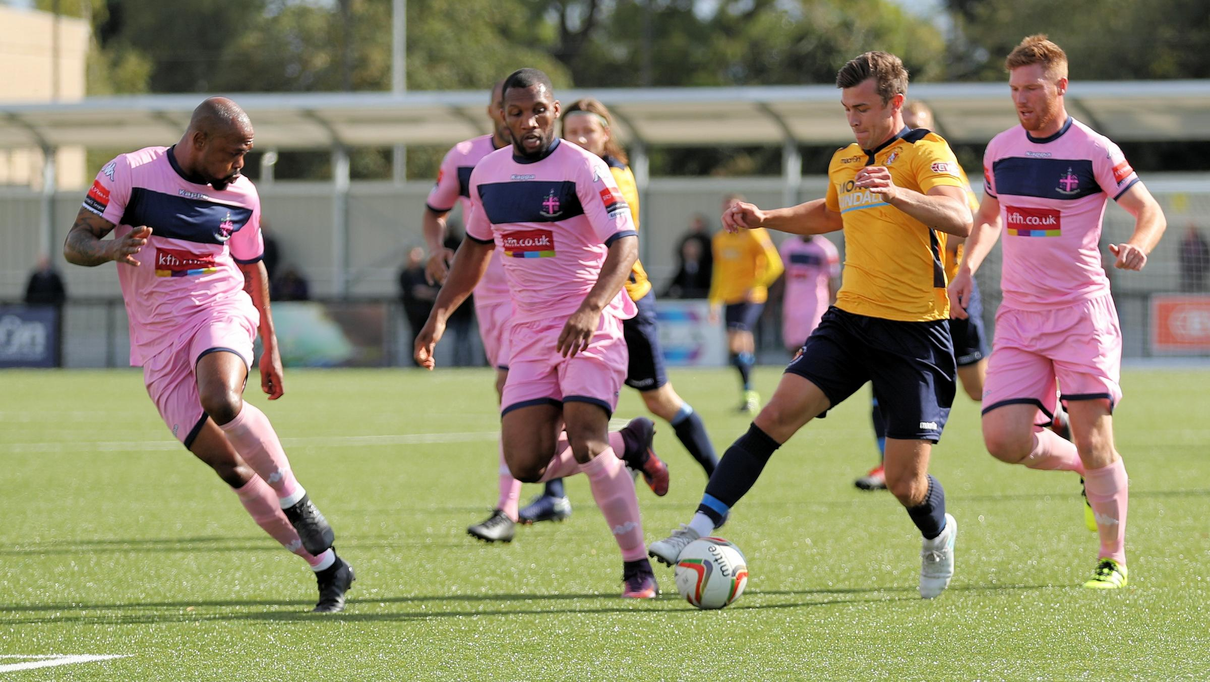Striker Chris Flood scored an early goal for Slough Town but it was not enough to avoid at 3-1 defeat away at St Neots Town on Saturday. PHOTO: Gary House Photography.