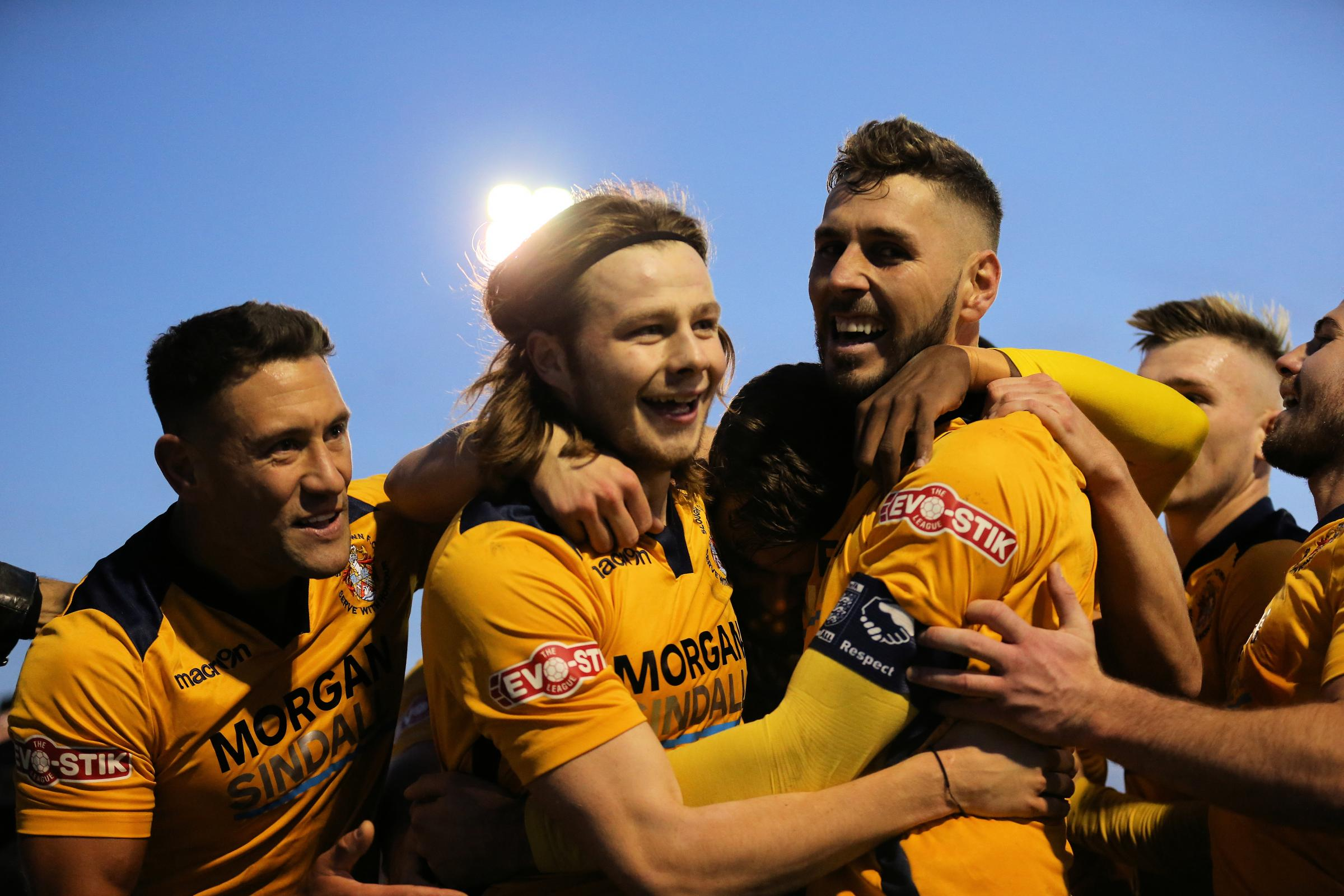 "Slough Town captain Mark Nisbet (right): ""I've been to the first round five times but never got through, so to tick this off is massive and definitely one of the highlights of my career."