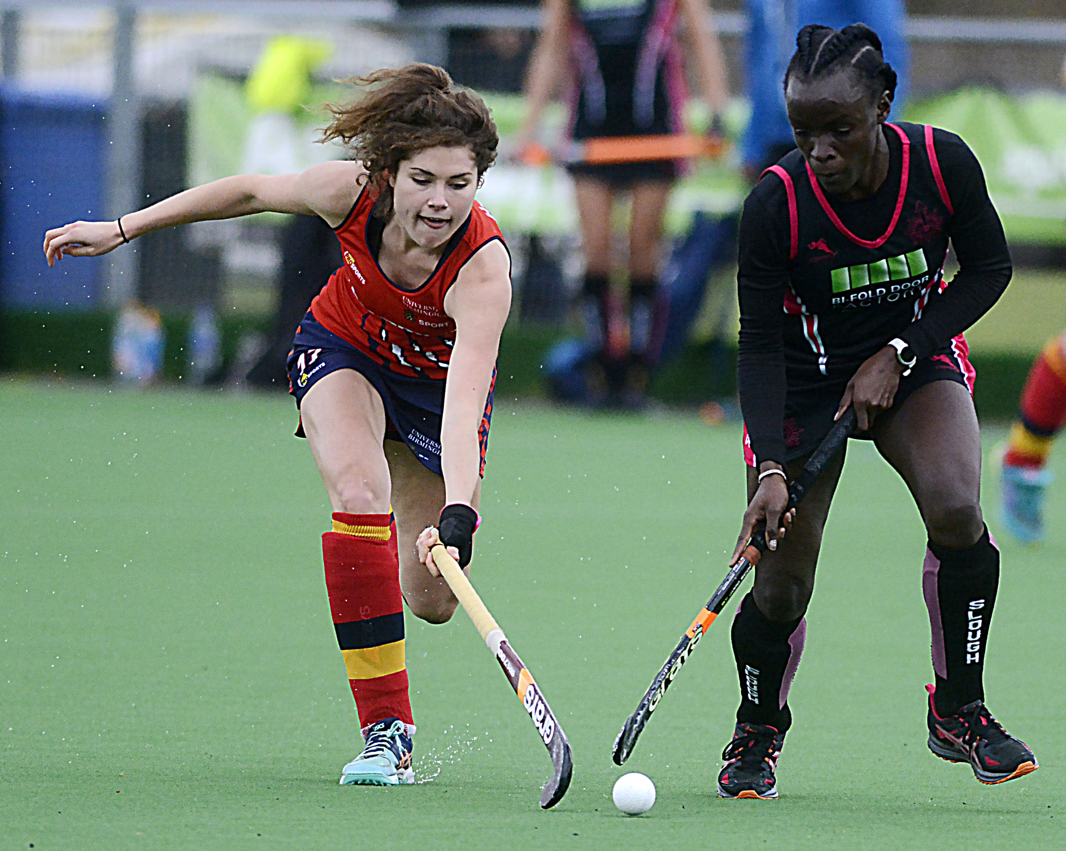 Slough (pink and black) suffered a 1-0 defeat to University of Birmingham on Saturday.