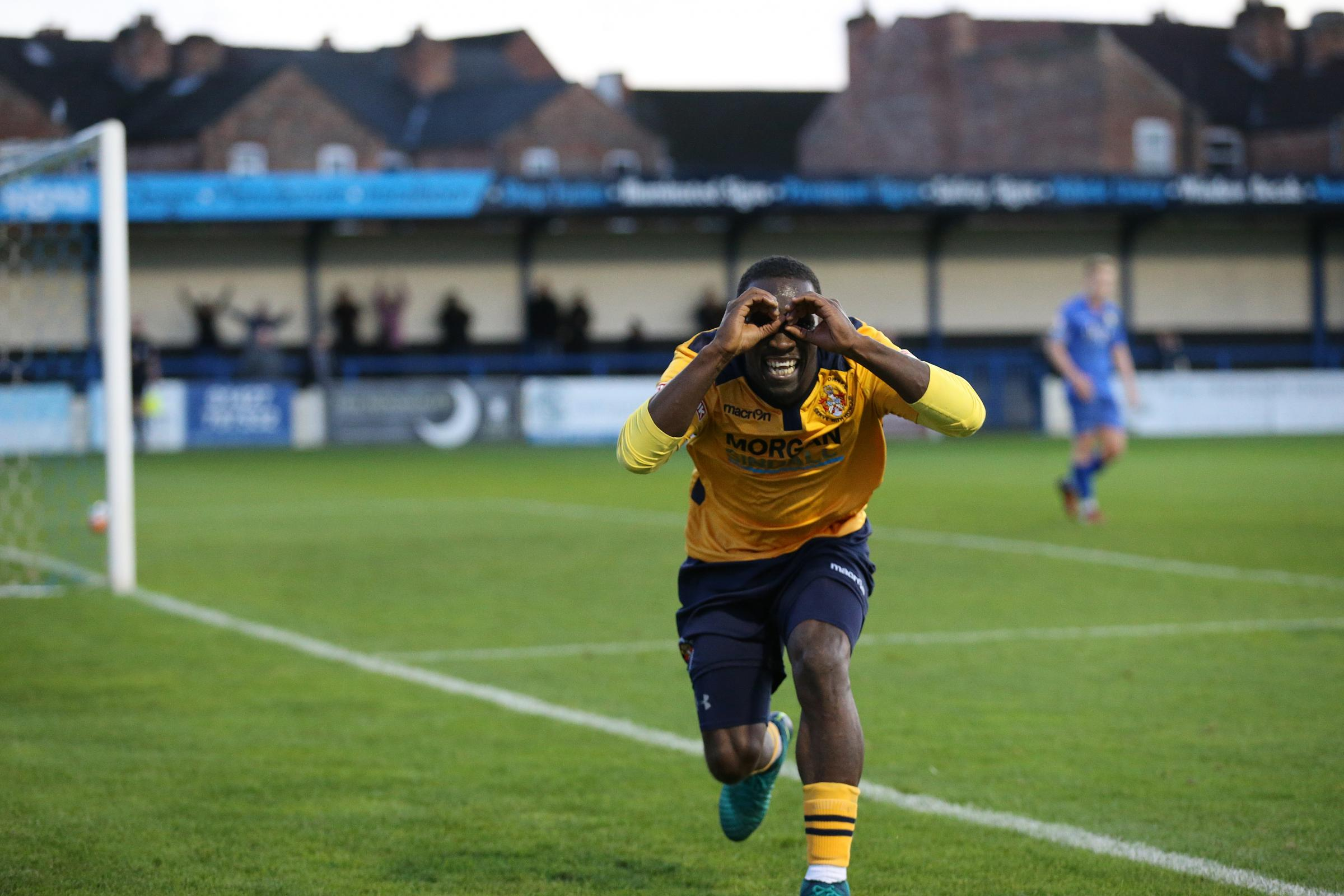 Slough Town forward Manny Williams celebrates his goal in the 6-0 FA Cup win at Gainsborough Trinity on Saturday. PHOTO: Gary House Photography.