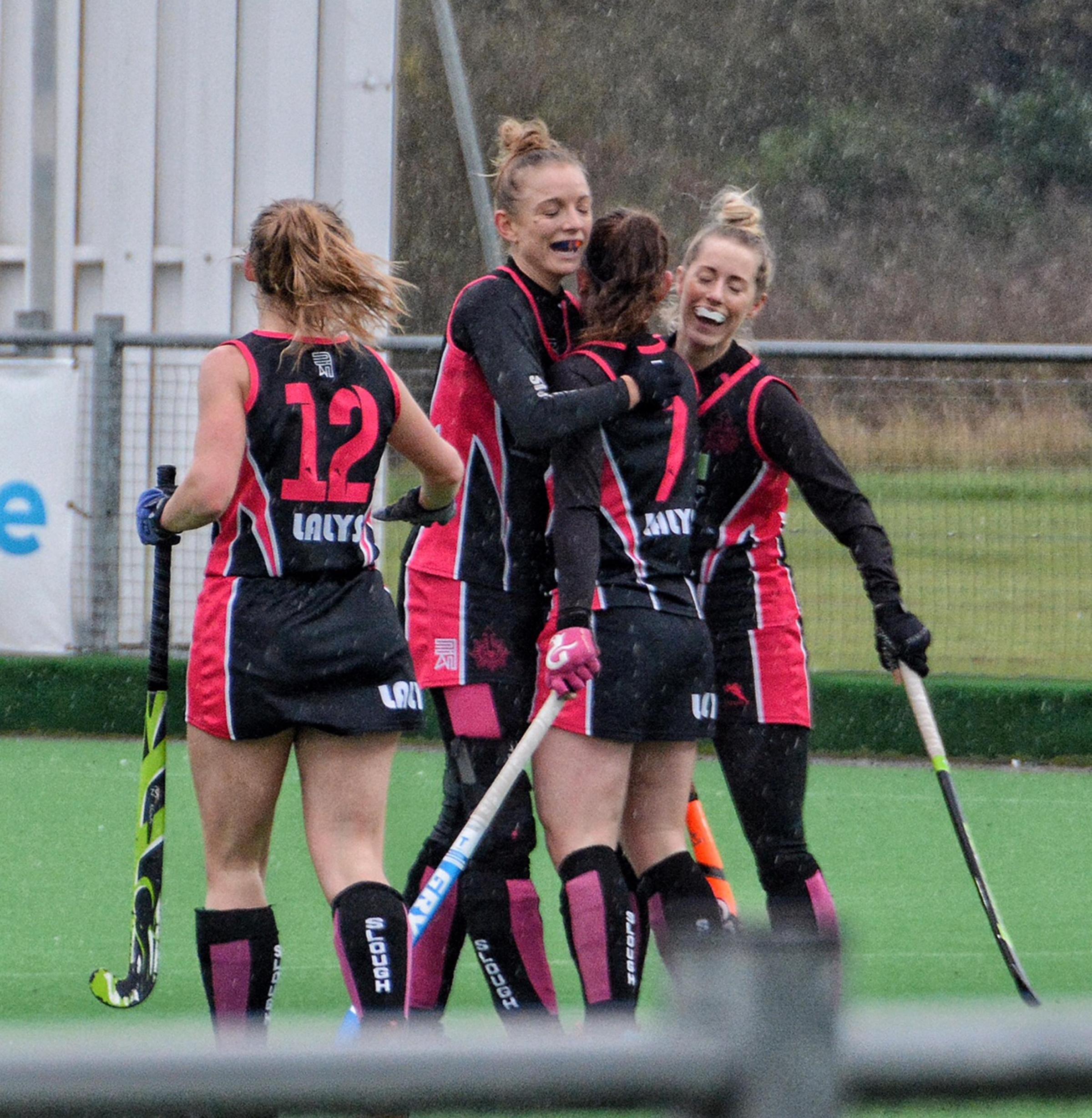 Slough celebrate one of the two goals scored by Amy Sheehan in the 2-2 draw against Clifton Robinsons on Saturday.