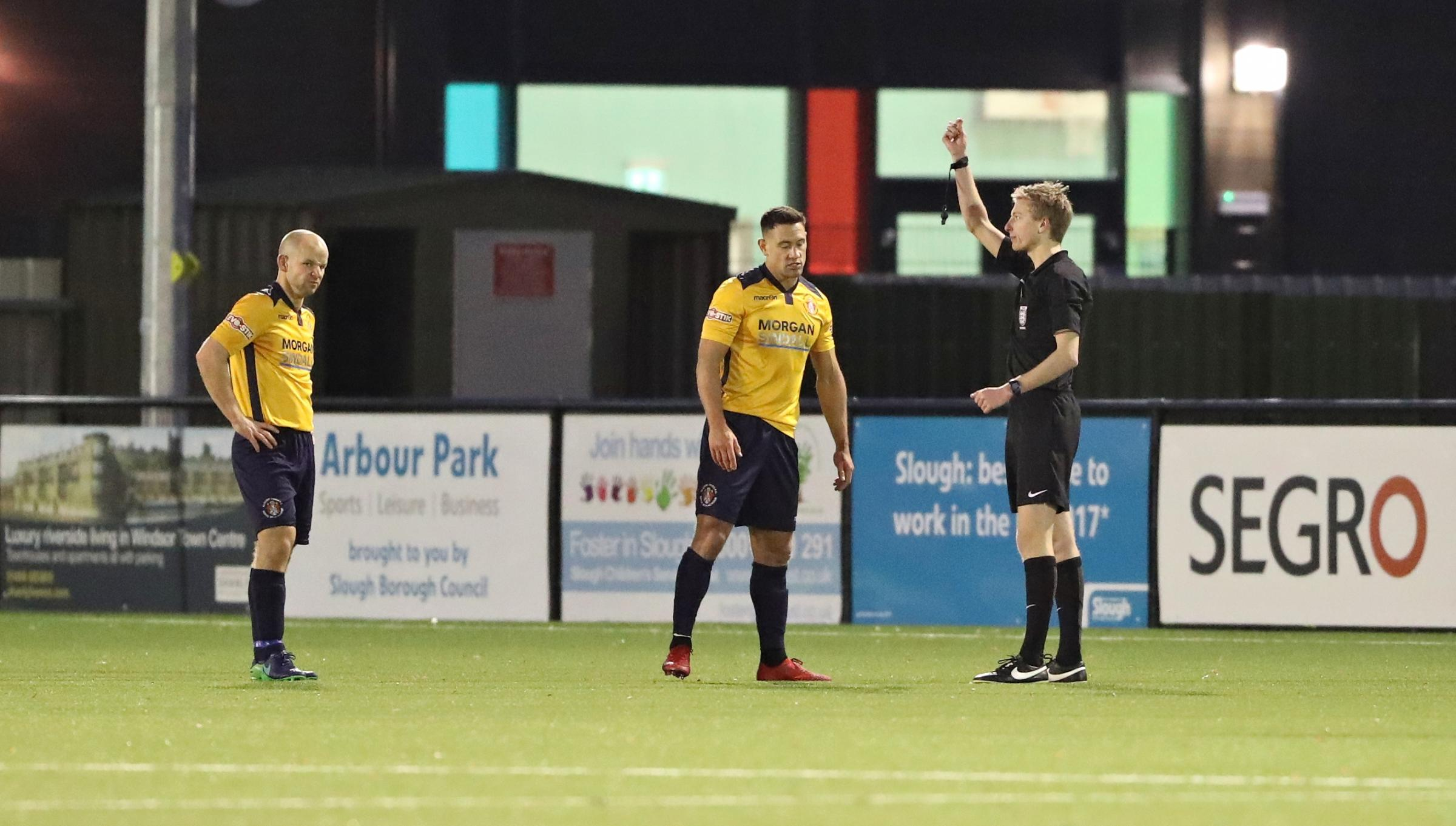 Slough's Nathan Smart is sent off in the 4-2 defeat to Bishop's Stortford. Pictures: Gary House Photography