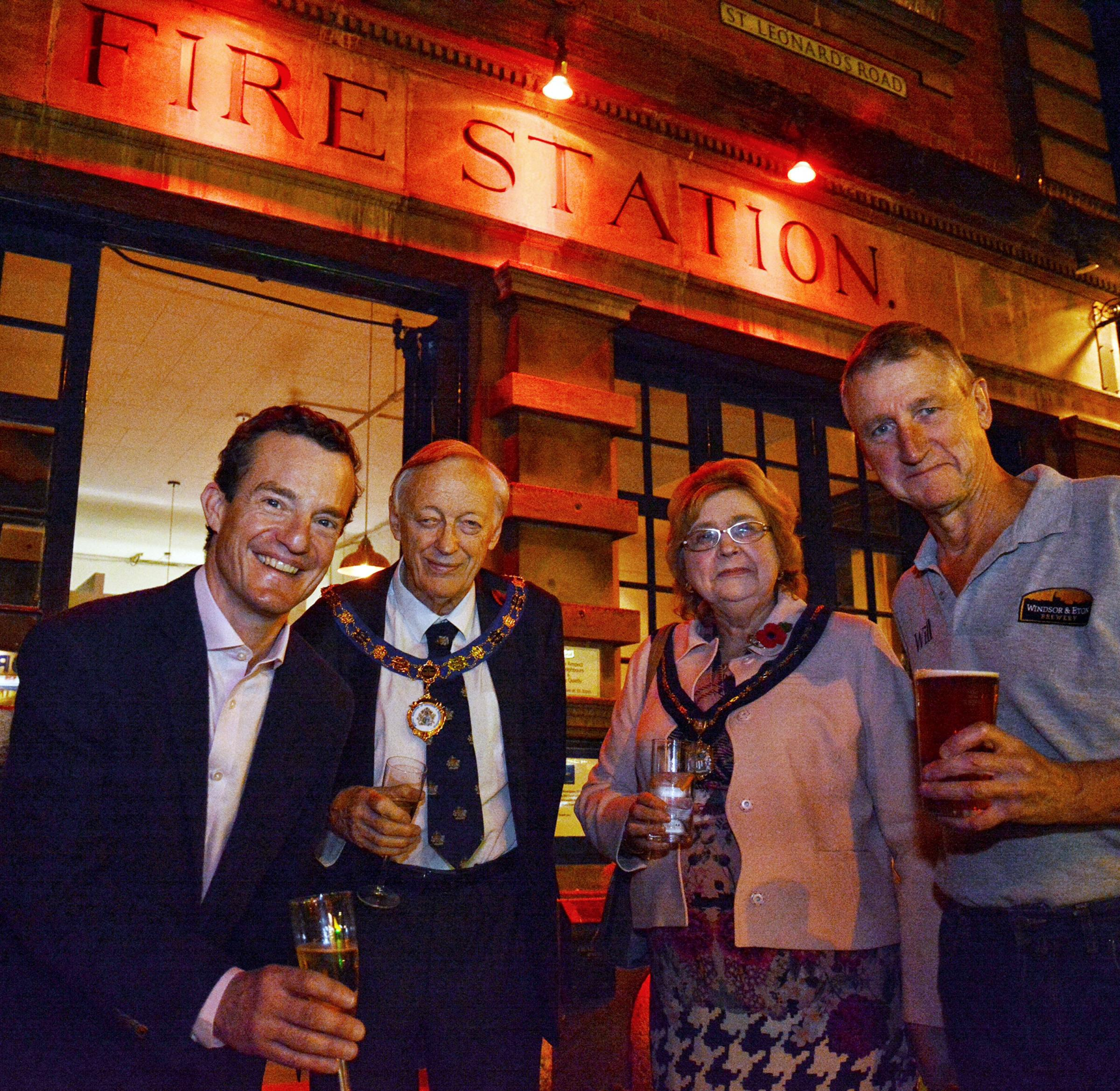 From left, Martin Denny, Mayor and Mayoress John and Margaret Lenton with the brewery's Will Calvert at the opening of the Old Court