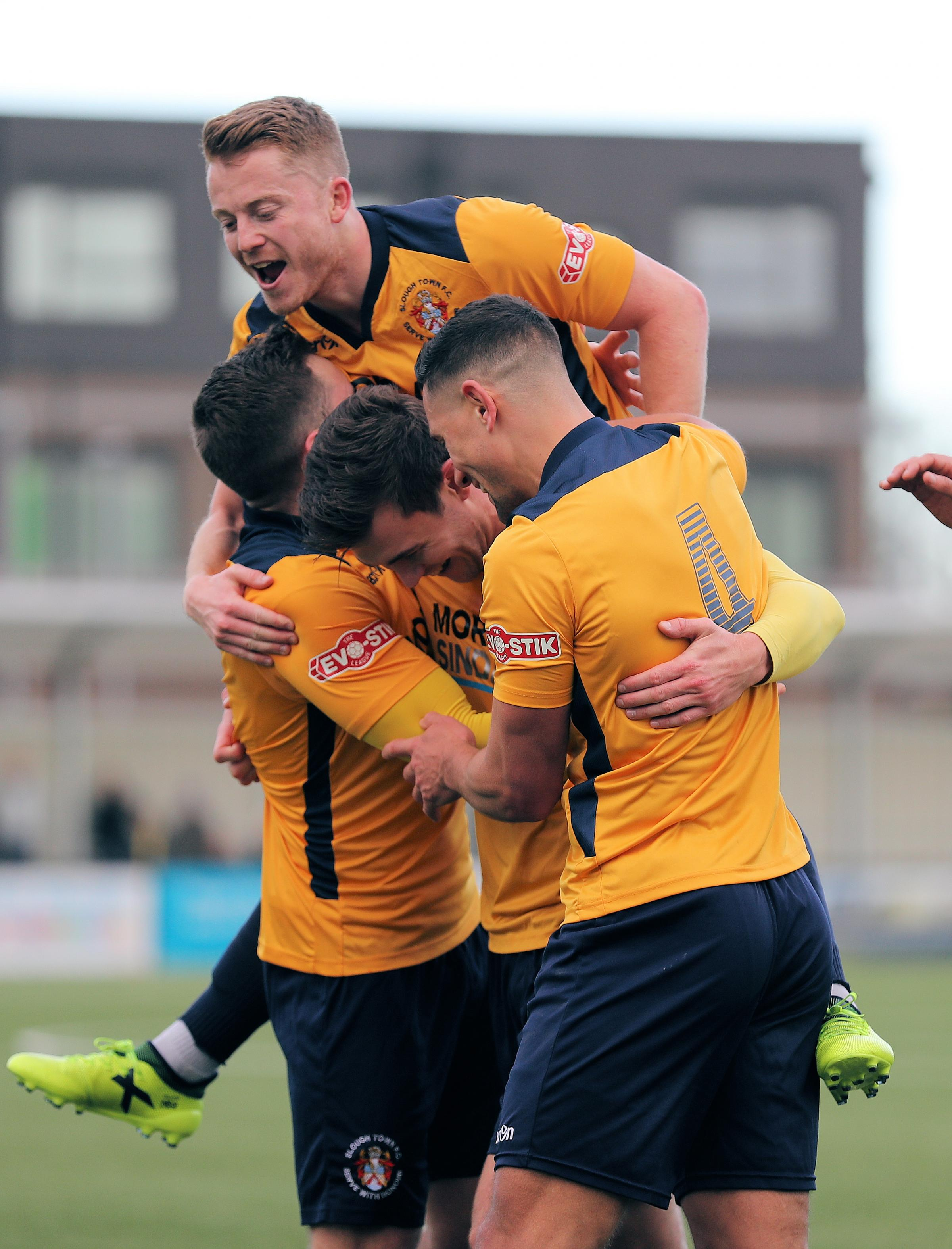 Slough Town celebrate one of their goals in the 5-1 win against Farnborough at Arbour Park on Boxing Day. PHOTOS: Gary House Photography.
