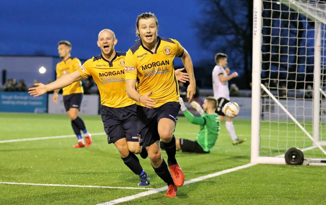 Slough Town stars Lee Togwell (left) and Matthew Lench (right) celebrate the injury-time winner in the 3-2 victory against Merthyr Town at Arbour Park on Saturday. PHOTO: Gary House Photography.