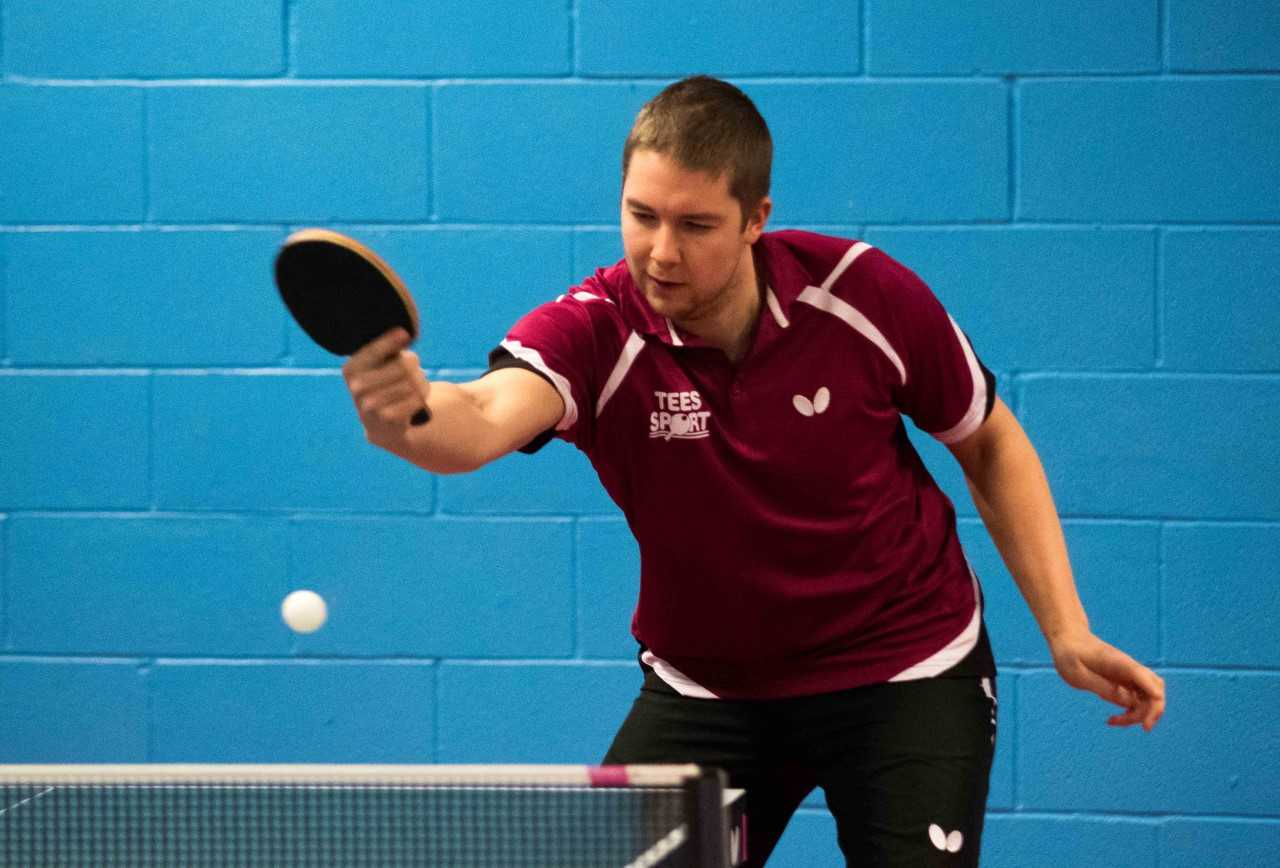 Ashley Shaw in action for Cippenham Table Tennis Club in the Senior British League.