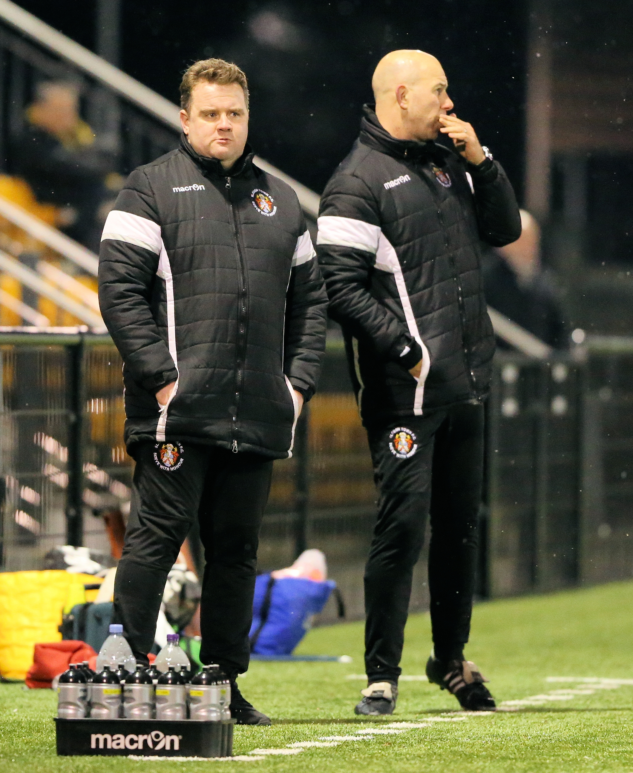 "Slough Town joint-manager Neil Baker (left): ""We just didn't get going and there were two or three mistakes. You could say some of it was down to the pitch but it was the same for Tiverton and they didn't make any mistakes in the second half."