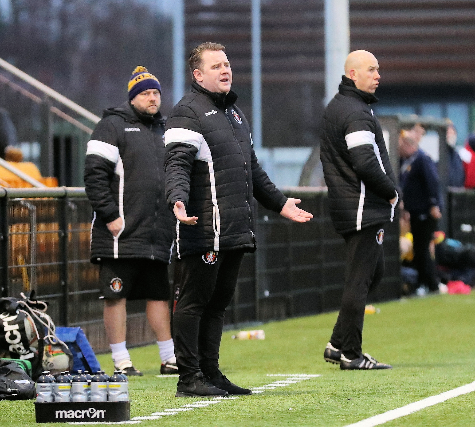 (l-r) Slough Town coach Trent Phillips plus joint-managers Neil Baker and Jon Underwood saw their side lose 1-0 to Banbury United on Saturday. PHOTO: Gary House Photography.