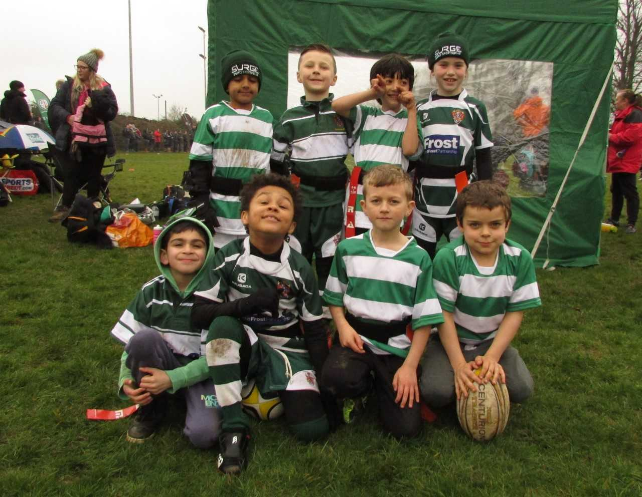 The Slough under-8 team at the London Irish St Patrick's Day festival.