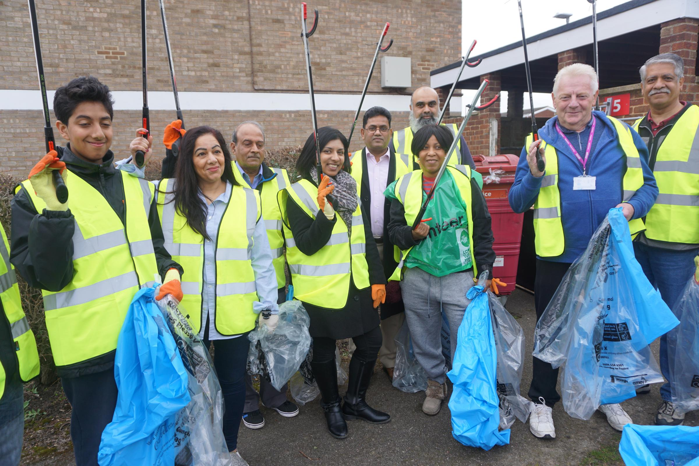 The litter picking team gets ready
