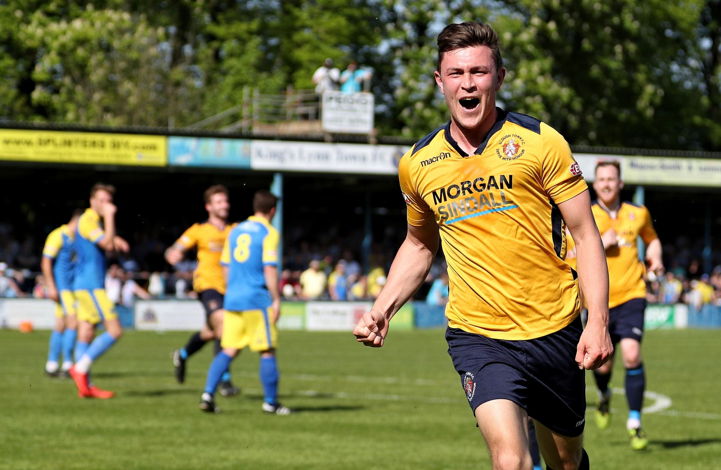 Slough Town striker Chris Flood celebrates his opening goal - his 24th of the season - in the 2-1 win against Kings Lynn Town in the Southern Premier Division play-off final on Bank Holiday Monday. PHOTOS: Gary House Photography.