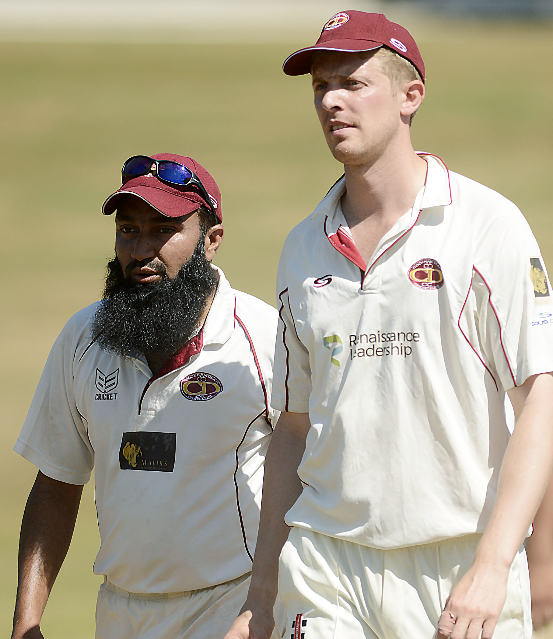 Cookham Dean captain Ben Millar (right) and Wasim Ahmed (left) during the 67-run defeat at Boyne Hill on Saturday. PHOTO: Paul Johns, 180697.