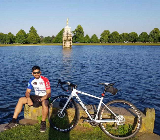 Atta-ur-Rahman Khalid with his bike