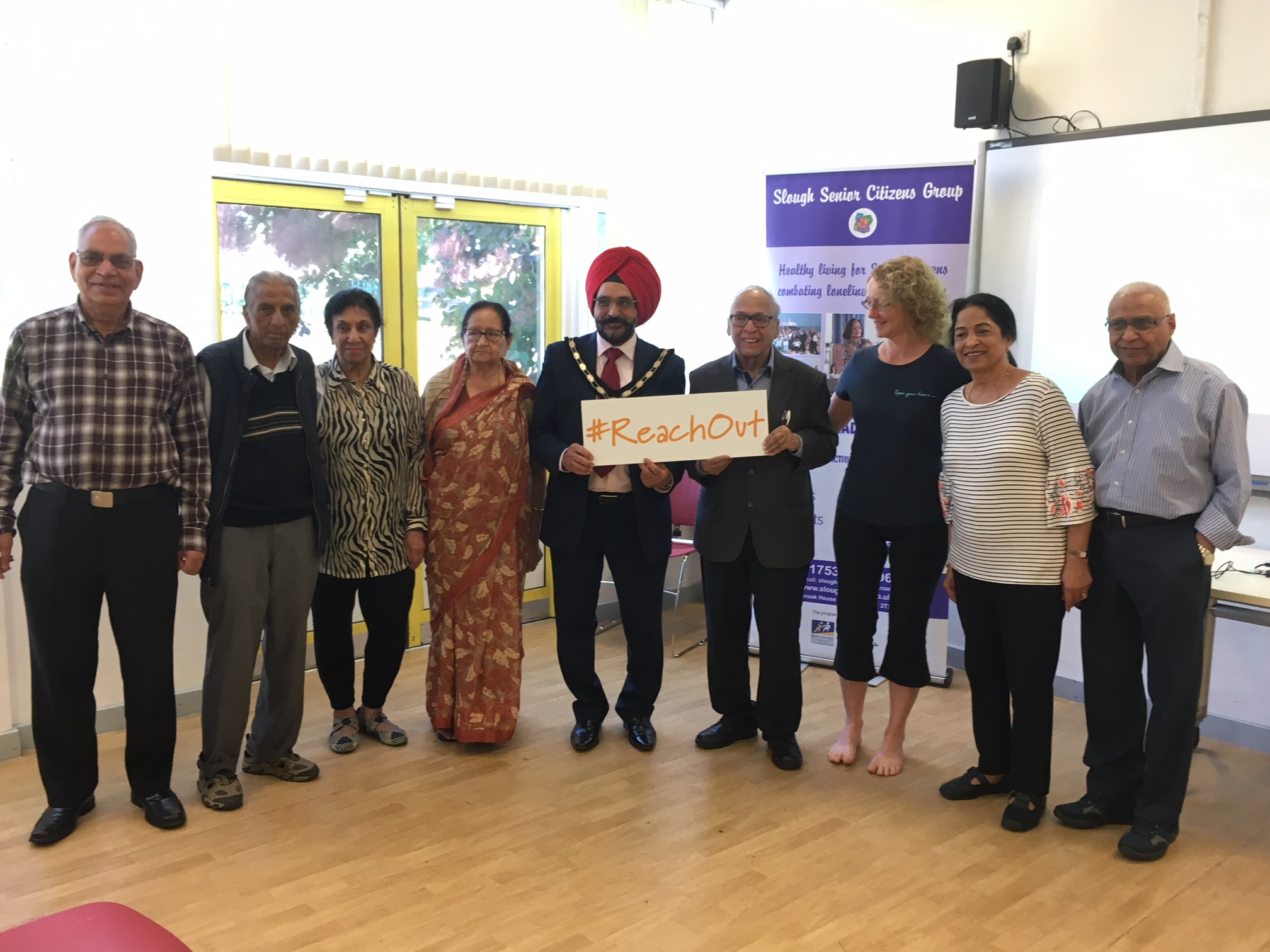 Slough seniors tried out yoga, with Slough Mayor Paul Sohal (centre)