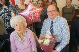 Surprise birthday celebration for 100-year-old resident