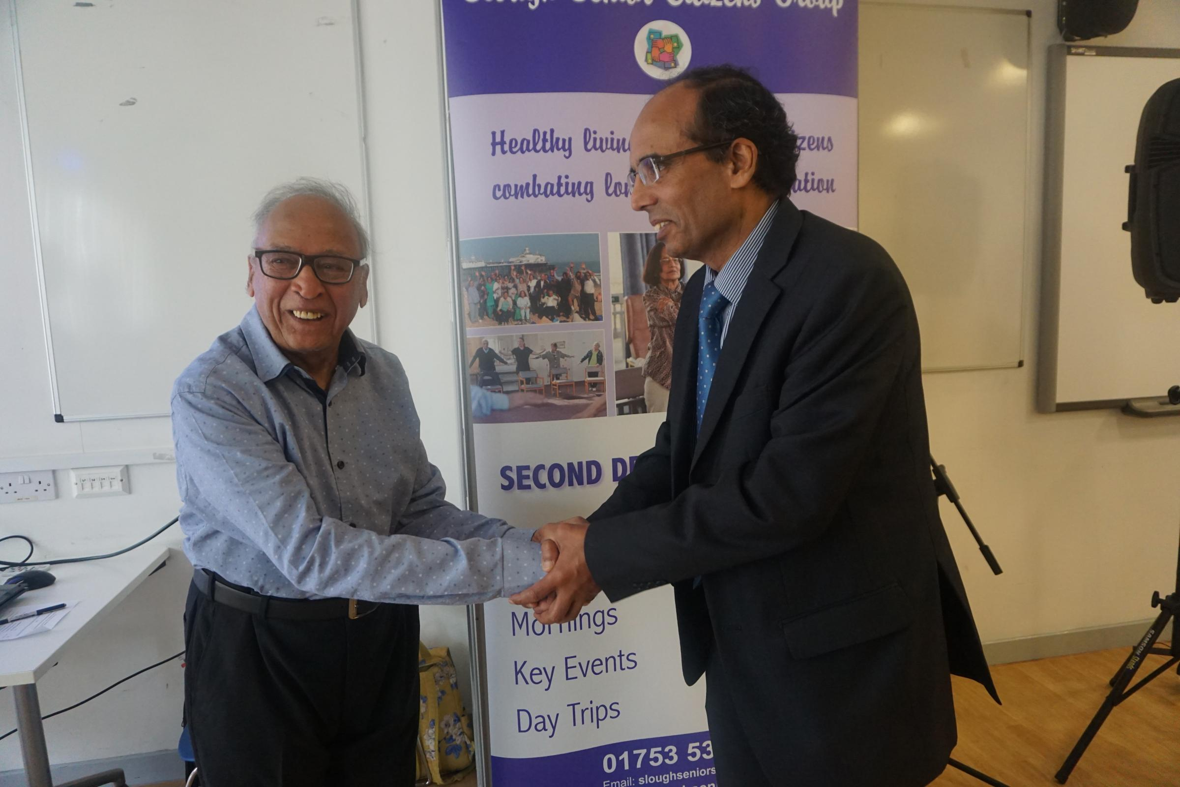 Doctor Sadhra is welcomed by Mr Gupta