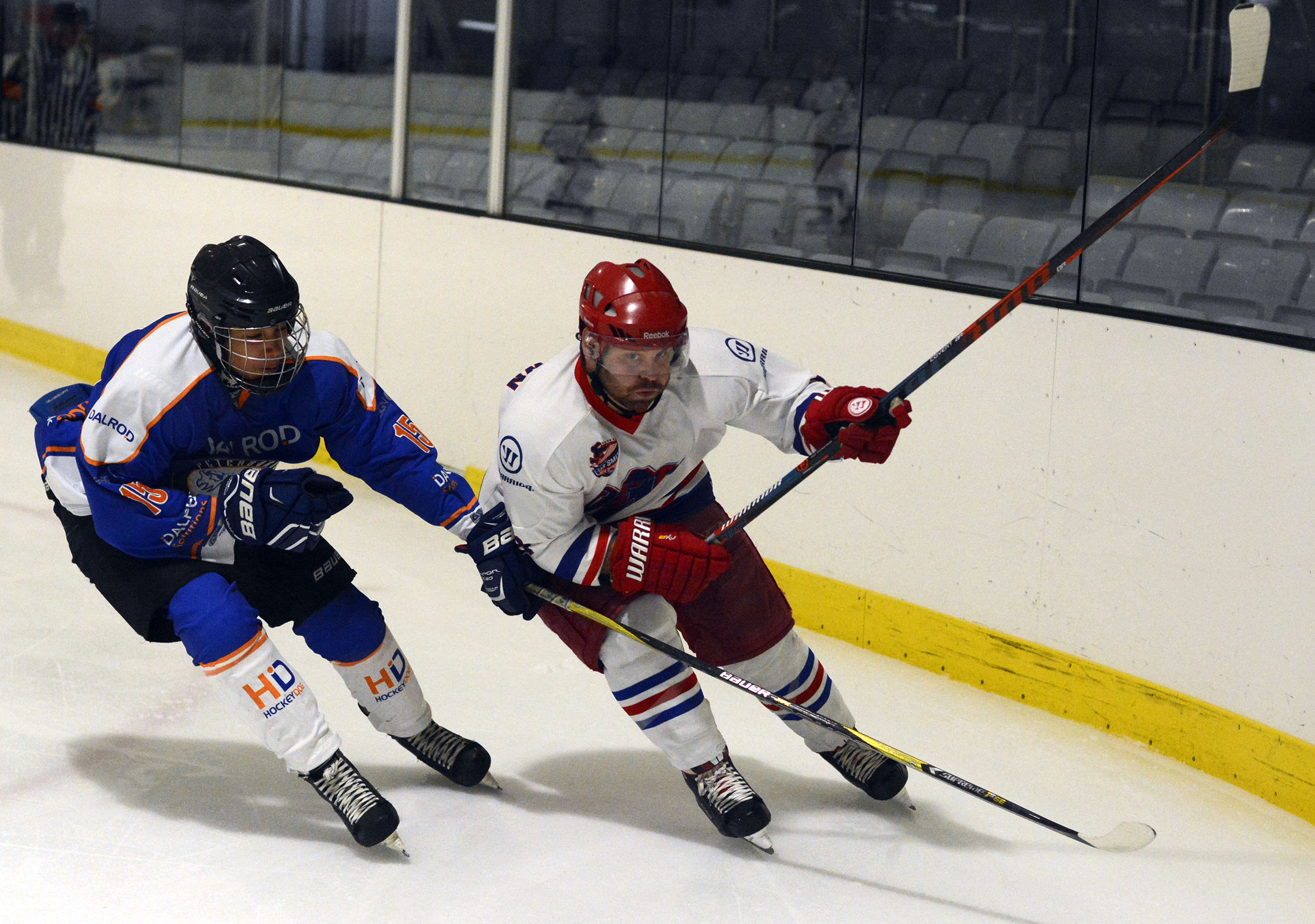 Slough Jets (white and red) beat Peterborough Phantoms 8-5 at the Slough Ice Rink on Saturday.