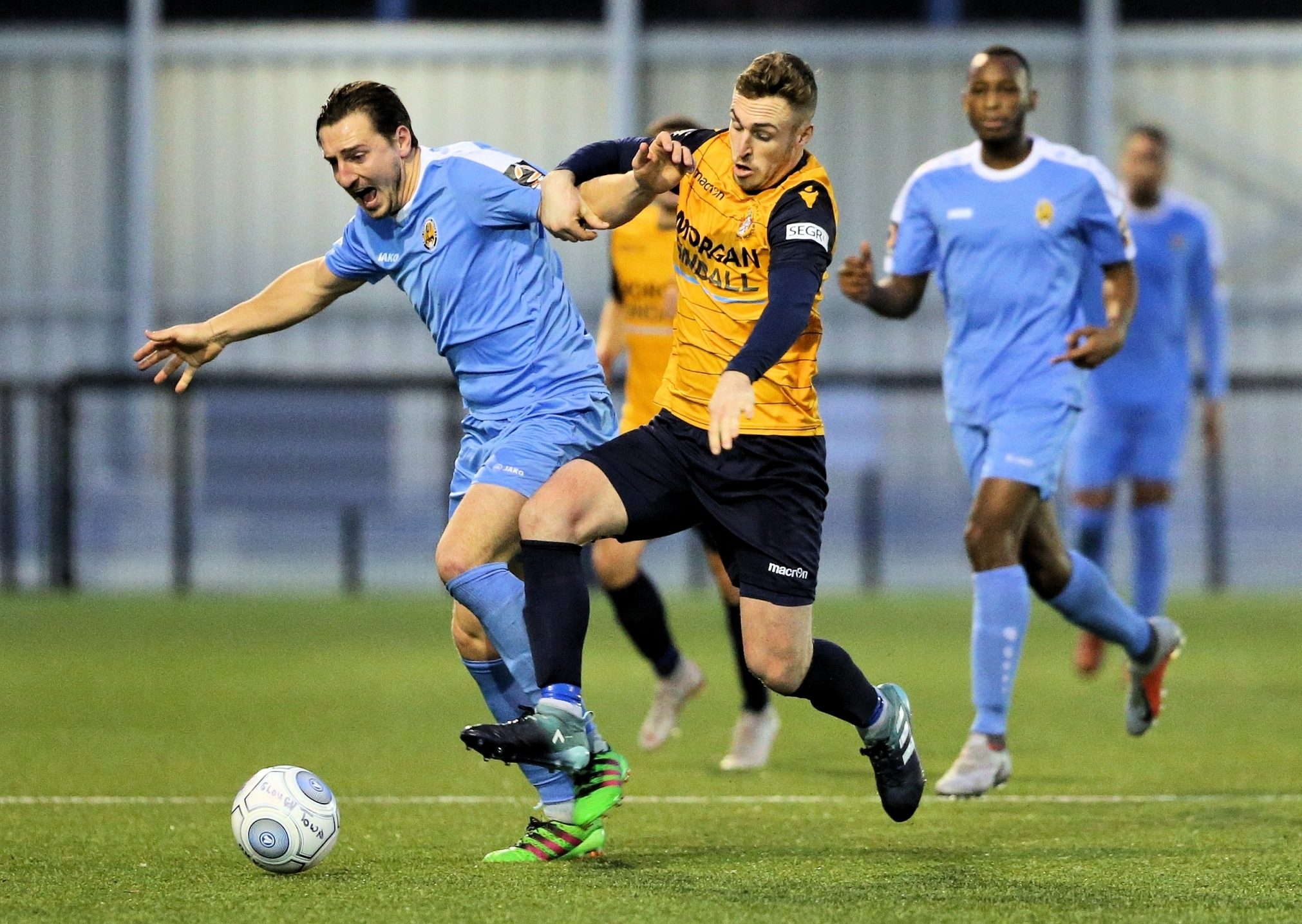 Ben Harris, right, was among the Slough goalscorers at Wealdstone. Picture: Gary House.
