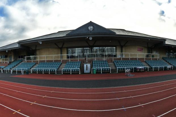 A panoramic view of the Thames Valley Athletics Centre in Eton, the home of the Windsor, Slough, Eton & Hounslow Athletics Club.