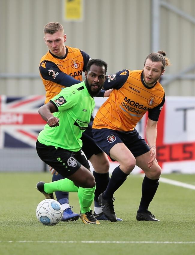 Slough Town midfielder Matthew Lench, right, and left full-back George Wells, left, scored in the 2-2 draw at Billericay Town in the National League South on Saturday.