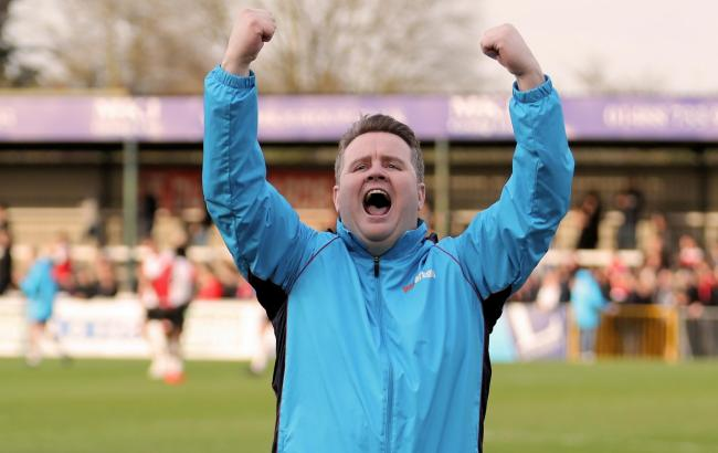 190384 Neil Baker celebrates beating the league leaders Woking 0:1 Slough Town. Pictures by Gary House..